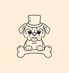 pug gentleman cartoon pug-dog cute dog in hat vector image