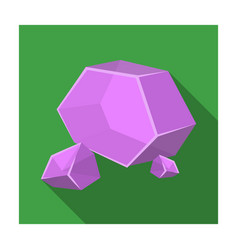 Purple rough gemstone icon in flat style isolated vector
