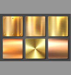 realistic brushed metal textures set polished vector image