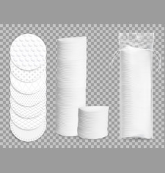 Realistic cotton pads 3d isolated mockup vector