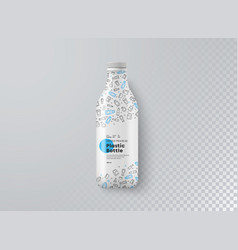 realistic mockup white plastic bottle top view vector image