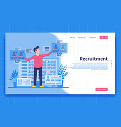 recruitment landing page concept vector image