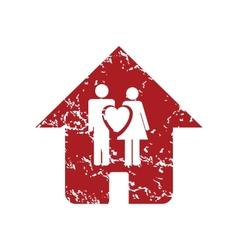Red grunge love home logo vector