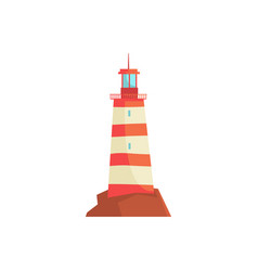 Red lighthouse searchlight tower for maritime vector