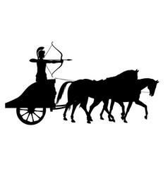 Roman archer on an ancient war chariot drawn vector