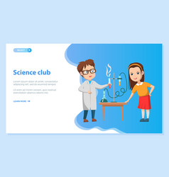 school science club kid doing chemical experiment vector image