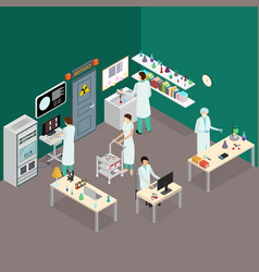 science lab interior with furniture isometric view vector image