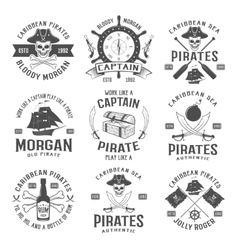 Sea Robbers Monochrome Emblems vector image
