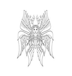 Seraph or seraphim a six-winged fiery angel vector