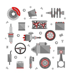 Set auto spare parts isolated on white vector