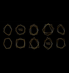 set golden polyhedron trendy frames abstract vector image