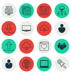 set of 16 web icons includes blog page human vector image