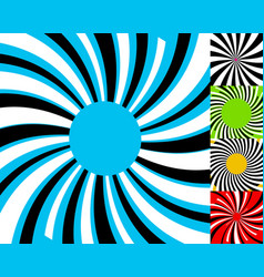 set of 4 radial lines background concentric vector image