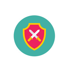 shield with swords - concept colored icon in flat vector image