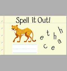 Spell english word cheetah vector