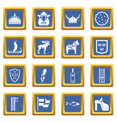 Sweden travel icons set blue vector