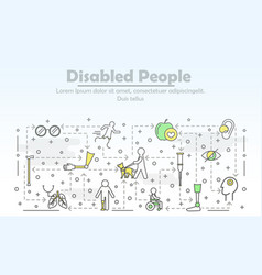 Thin line art disabled people poster banner vector
