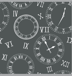 Time seamless pattern clocks clock faces roman vector