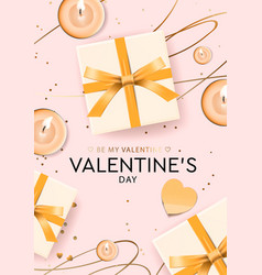 Valentines day design gifts boxes candles vector