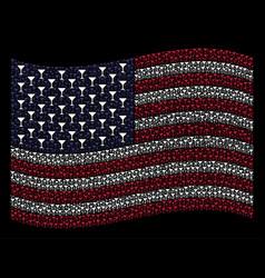 waving united states flag stylization of alcohol vector image
