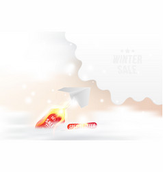 winter sale 50 hot offer white paper airplane vector image