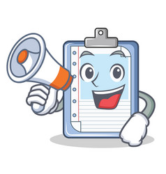 with megaphone clipboard character cartoon style vector image