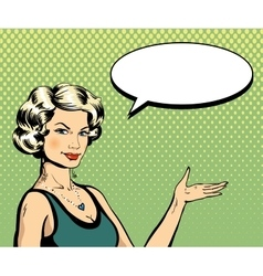 woman with speech bubble in retro pop art style vector image