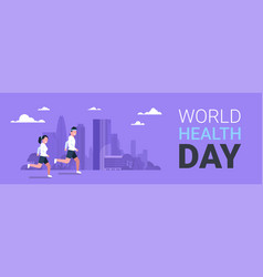 World health day poster with couple jogging over vector