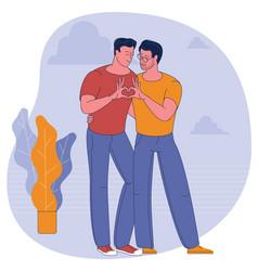 young homosexuals gay couple vector image