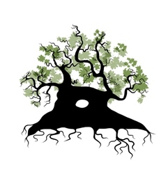 Big old tree with roots for your design vector image vector image