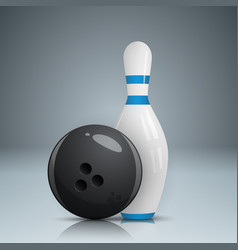 bowling game realistic icon vector image vector image