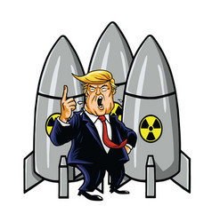 donald trump with nuclear weapons cartoon vector image vector image