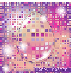 Easter egg crystall pink glass spring concept vector image