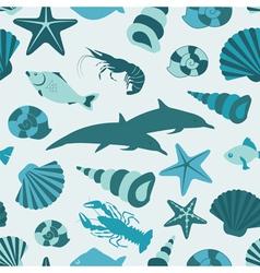 Sea animals seamless pattern flat style vector image vector image