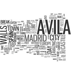 avila spain text word cloud concept vector image