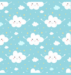 cloud character with stars seamless pattern vector image vector image