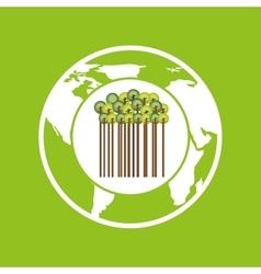earth save tree symbol icon vector image
