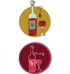 red wine bottle and glass vector image vector image