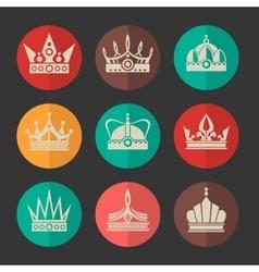 Royal crowns icons set vector
