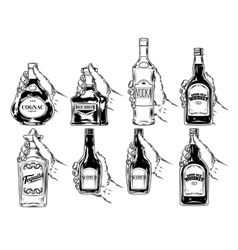 Set of bottles for alcohol vector