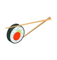 sushi japan with two sticks isolated japanese food vector image