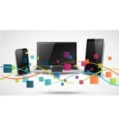 Tablet computer and mobile phones with colorful ap vector