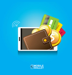 digital mobile wallet concept icon vector image