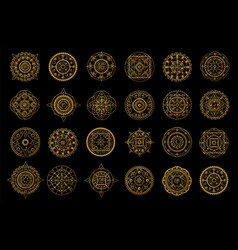 golden mandalas on black background boho style vector image vector image