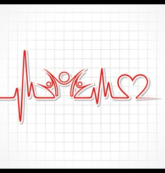 Heartbeat with a unity symbol in line vector image vector image