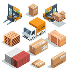 isometric industry machine for lading freight and vector image vector image