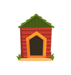 red wooden doghouse with green roof vector image