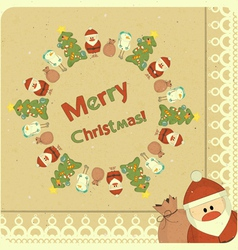 Santa Claus snowman and Christmas tree vector image vector image