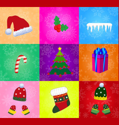 set of christmas accessories isolated on vector image