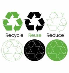 six recycle symbols vector image vector image